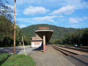 The sign that visitors see as the train enters the station.  Photo by Brian M. Powell (user Bitmapped on en.wikipedia)